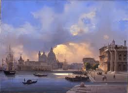 Ippolito Caffi (1809-1866): Venetsia. Vanha satama (Molo) auringonlaskun aikaan.